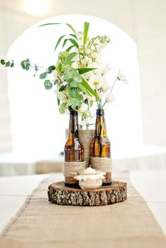 DIY Table Decorations | Rustic Center Piece | BBQ Event | Recycled Beer Bottles and Twine | Wild Flowers