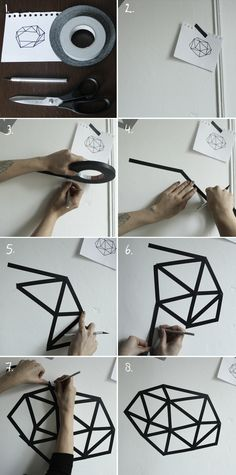 Geometric wall art. Might be even better with differently sized tapes.