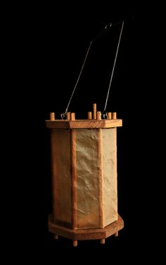 SCA Lantern. Entirely handmade from wood and rawhide, with a metal handle, and a metal base plate with spike for the candle (Candle not included).