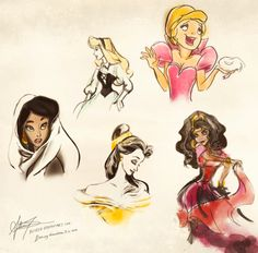 Disney Sketches: Jasmine, Aurora, Charlotte, Belle, Esmerelda