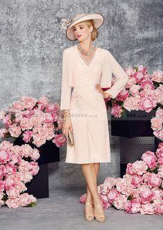 A-Line/Princess Short Sleeve V-Neck Knee-Length Chiffon Mother Of The Bride Dress With Appliqued