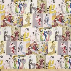 Montreaux Geisha Drill Multicoloured 112 cm | Spotlight Australia Geisha, Japanese Fabric, Drill, Australia, Spotlight, Quilts, Blanket, Knitting, Sewing