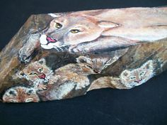 Momma Cougar Rock ArtPainted Stone by 2birdstudio on Etsy