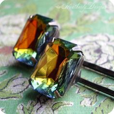 Vaudeville: luxe vitrail vintage glass jewel by HeatherlyDesigns (Accessories, Hair, Bobby Pin, clip, barrette, vintage, glass jewel gem, rhinestone, clear foiled stone, brass bronze, bobby pins bobbies, luxe boutique, neo victorian, faceted, rainbow vitrail, green blue yellow)