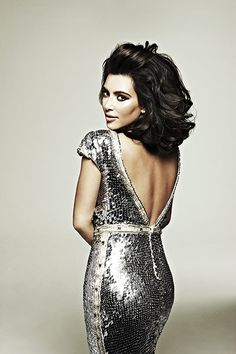 Kim Kardashian in the silver Gardinia Gown by Johanna Johnson