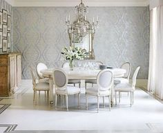 Glam Grey And Silver Dining Room