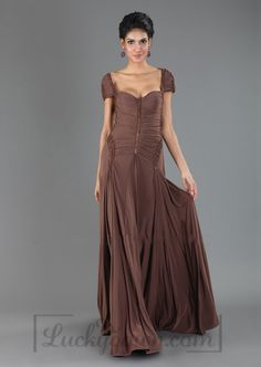 Floor Length V-back Short Sleeve Evening Dress