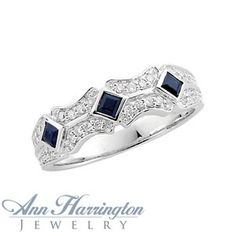 14k White or Yellow Gold 1/3 ct tw Diamond and Genuine Blue Sapphire Vintage Anniversary Band