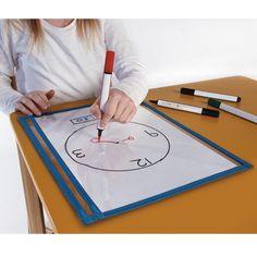 Op deze beschrijfbare sheet kun je schrijven met whiteboard stiften - http://credu.nl/product/beschrijfbare-sheet/