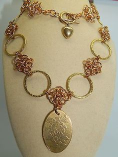 Hand-made Solid Brass Etched Pendant & Chain Maille Necklace & Earring Set