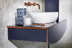 Opula Washbasin Unit with Sit-on Basin - Featuring soft close drawer with motion sensor activated internal LED illumination, under-unit LED mood lighting and internal accessory drawers with removable drawer liner protection. Furniture, Bathroom Storage Units, Wash Basin, Shelves, Dark Bathrooms, Mirror With Shelf, Bathroom, Soft Close Drawers, Modular Furniture