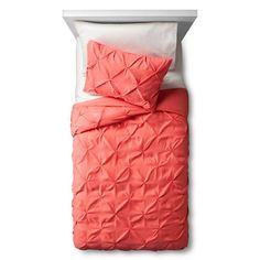 Pinch Pleat Duvet Cover Set Twin Coral 2pc - Pillowfort™ : Target