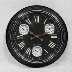 Black Wall Clock Retro 1950s Style