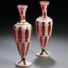Pair of Bohemian Overlay Glass Vases
