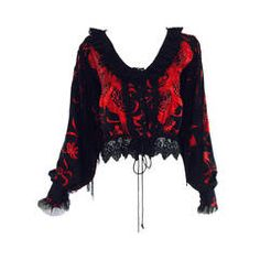 1960s bohemian black & red embroidered silk fringe blouse