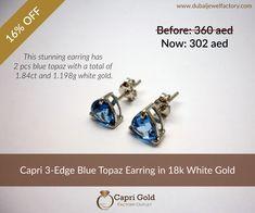 e2c9b9466c87aa Capri 3-Edge Blue Topaz in 18k White Gold. Dubai Jewel Factory's Special  Deals