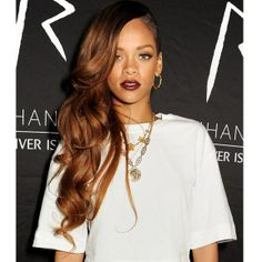 Rihanna burgundy lipstick