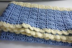 Crocheted Blue & Antique White Shell Baby by fashionablekids, $50.00
