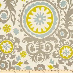 Premier Prints Suzani Summerland grey blue green by FabricSecret