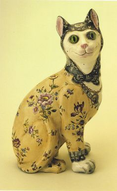 Emile Gallé (1846-1904) - Figure of a Cat, enameled faience with details in glass