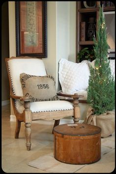 Vintage French hat box adds texture to this family room.