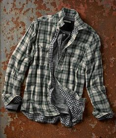 The French have a knack for taking unlikely fabric pairings and creating sartorial works of art-Metier Plaid Shirt from Cool Shirts For Men, Casual Shirts For Men, Men Casual, Men Shirts, Mens Fashion Wear, Mens Fashion Blog, Mens Stitch Fix, Bohemian Style Men, Mens Flannel Shirt