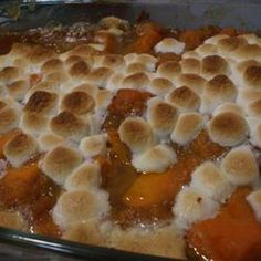 Candied Sweet Potatoes Recipe Side Dishes with sweet potatoes, margarine, brown sugar, mini marshmallows, ground cinnamon, ground nutmeg