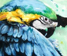 PARROT PAINTING  blue macaw parrot artwork by SignedSweet on Etsy