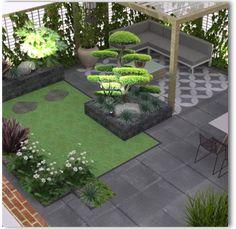 Garden Design Layout - New ideas Modern Backyard, Backyard Garden Design, Small Garden Design, Backyard Landscaping, Landscaping Ideas, Rustic Gardens, Garden Seating, Back Gardens, Raised Garden Beds
