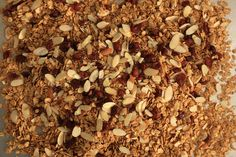 Basic Granola Recipe- Use 1/3 cup oil, 1/3 cup honey, 4 cups rolled oats, and 1 cup pecans. Omit the brown sugar.