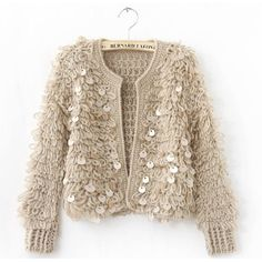 Free Shipping New Arrival Women's Blouse Short Cardigan Sequin Jakcet... ❤ liked on Polyvore featuring tops, cardigans, jackets, outerwear, sequin top, short tops, sequin embellished top and brown top
