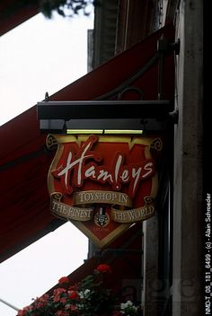 Close-up of a store sign on a building, Hamleys, Regent Street, London, England