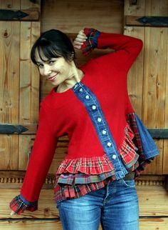 Tartan loco reciclado el suéter y la estilo folk jeans