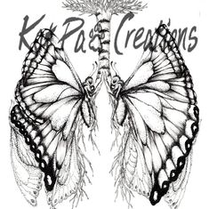 Butterfly Lungs Human Anatomy Ink Drawing by KatPawCreations