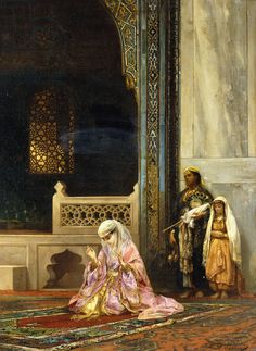 Stanislaus von Chlebowski - Turkish Lady Praying in the Green Mosque, Bursa Art Arabe, Empire Ottoman, Middle Eastern Art, Arabian Art, Islamic Paintings, Exotic Art, Turkish Art, Classic Paintings, Oil Painting Reproductions