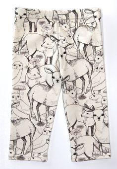 Salt City Emporium Animal Friend print children leggings, modern organic, baby leggings, hipster kid
