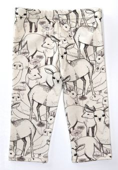 Salt City Emporium Animal Friend print children leggings, modern organic, baby leggings, hipster kid