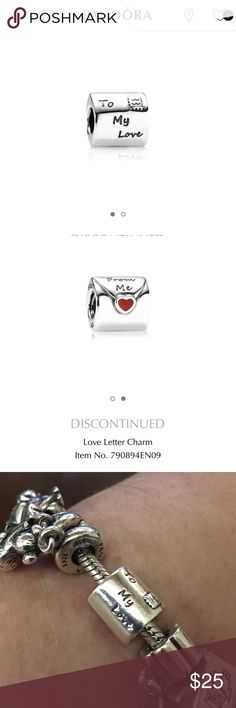 Pandora Love Letter Charm (discontinued) This Pandora Love Letter charm has been gently worn but it still in good condition. This item has since been discontinued by Pandora. Pandora Jewelry Bracelets