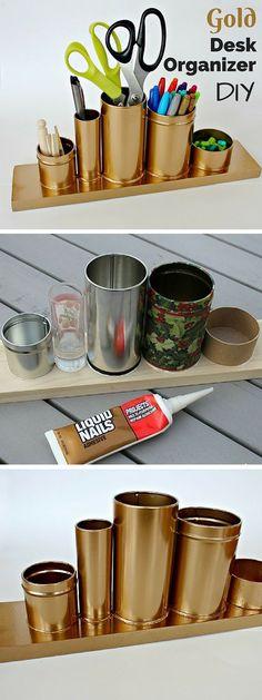 Check out the tutorial: #DIY Anthropologie Gold Desk Organizer Knockoff #crafts #homedecor