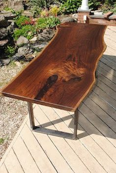 Solid Wood Dining Table (Walnut Slab) with Natural Edge and Custom Steel Legs