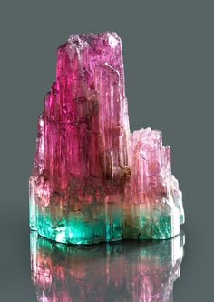 Bi-color Tourmaline - Madagascar, weighing approximately 74.56 carats, height 30.5 cm http://www.bonhams.com/auctions/18252/lot/1210/