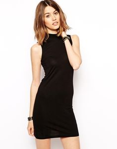 Noisy May High Neck Dress - Black