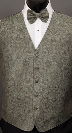 a4391cb68614 Sage Green Retro Paisley Vest and Bow Tie by Mel Howard