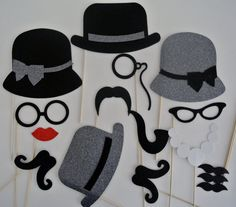 Mad Men Inspired Photo Booth  Props Weddings 16 pc  Grey Hats with Black Trim