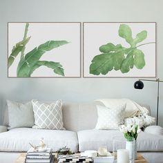 Moderne Aquarel Groen Blad Plant Poster Print Bloemen Wall Art Foto Nordic Hipster Landelijke Home Decor Bloem Schilderij Geen Frame