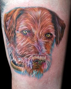 bees dog by Cecil Porter - done on tattooist bee in england with fusion ink and stigma hyper Welsh Terrier, Airedale Terrier, Griffon Tattoo, Medium Tattoos, Wirehaired Pointing Griffon, Bee Dog, Fusion Ink, Watercolor Tattoo, Body Art