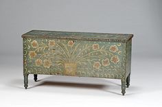 """Kentucky Blanket Chest with Folk Art Decorations, A painted poplar blanket chest having large flowers in pots and whimsical decoration. Original paint; 30"""" high x 57"""" wide x 20.75"""" deep.   - Cowan's Auctions, Price realized:$ 64,625"""