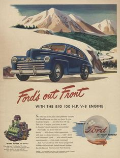 1946 Ford Car Advertisement Art Vintage Print Ad Automobile