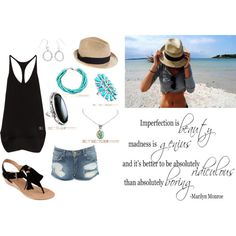 a day at the beach, created by silvertribe on Polyvore