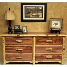 We offer this Wildwood Rustics Red Cedar Log Dresser with 6 drawers and other fine red cedar log furniture. Browse our rustic furniture catalogs now. Cedar Furniture, Reclaimed Wood Furniture, Baby Furniture, Rustic Furniture, Bedroom Furniture, Furniture Ideas, Cedar Homes, Log Homes, Cedar Log
